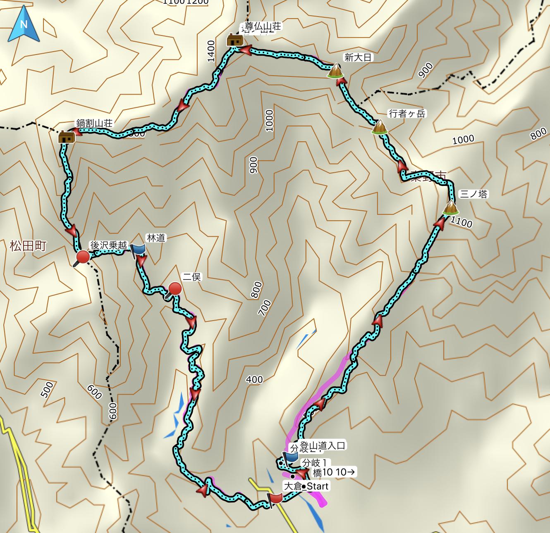 三ノ塔ー塔ノ岳ー鍋割山 登山コース地図