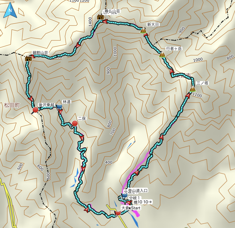 Mt. Sannoto-Tonodake-Nabewari The map of the climb