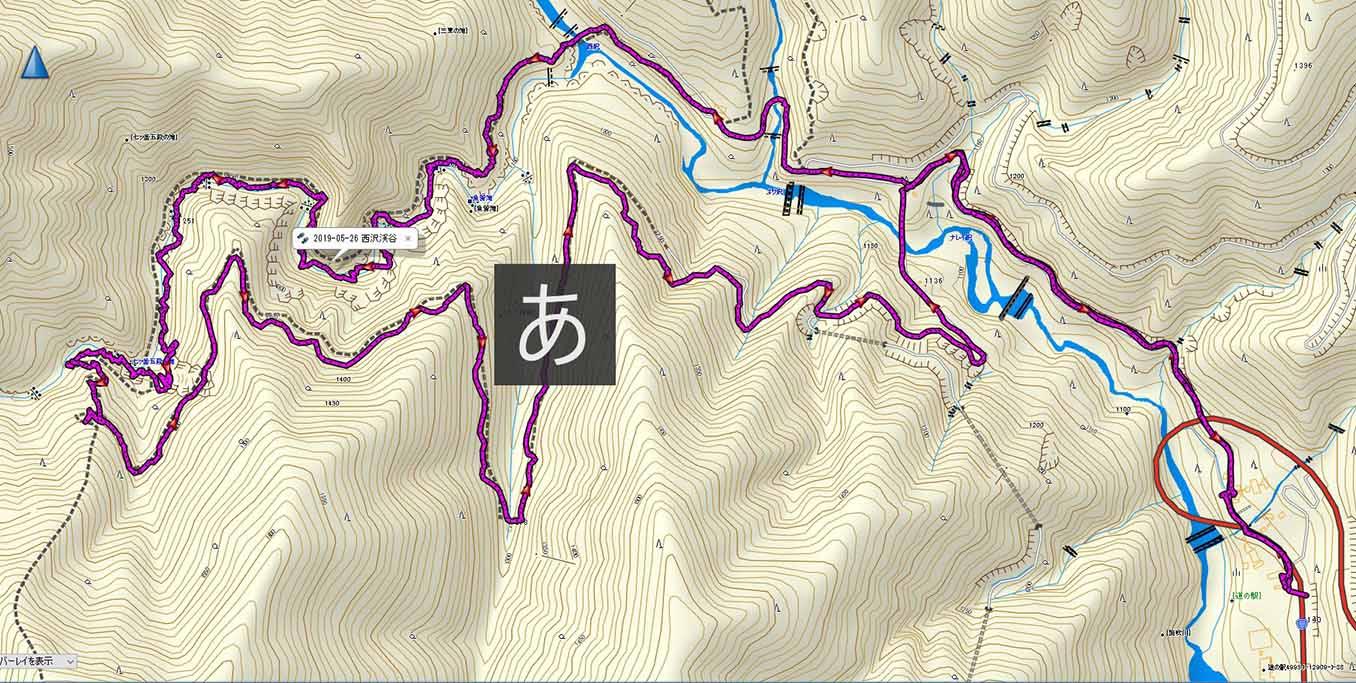 西沢渓谷 登山コース地図
